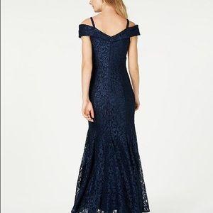 R & M Richards off the shoulder lace gown